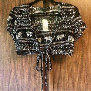 Forever 21+ Elephant Paisley Tie-Front Crop Top